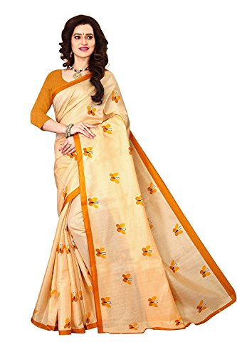 Esomic Cotton Saree With Blouse Piece(s1097 titli yellow_Yellow_f)