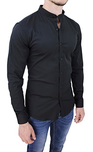 Camicia uomo cotone slim fit nero casual elegante con colletto coreana (l)