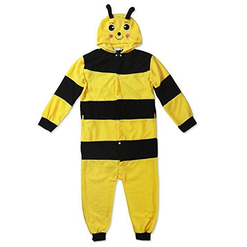 Kinder Fleece Onesie - Bienen Kostüm 2 - 9 Jahre - Gemütlicher Jumpsuit für Fasching, Cosplay, Karneval - Plüsch Verkleidung für Party als witzige Biene in Gelb-Schwarz