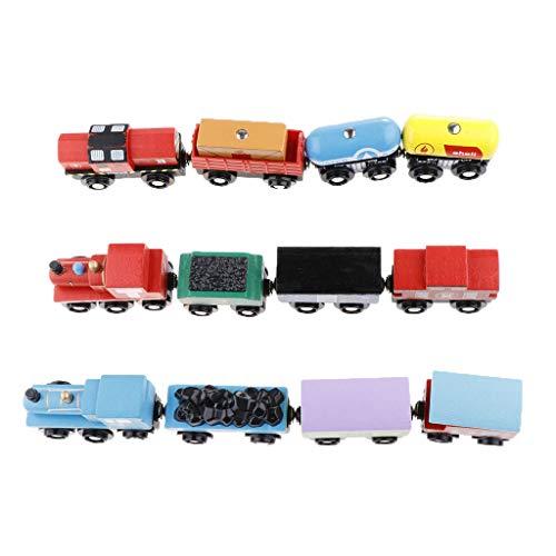Magnetisches Holzeisenbahn Zug Lokomotive mit Waggons Set Kinderspielzeug ()