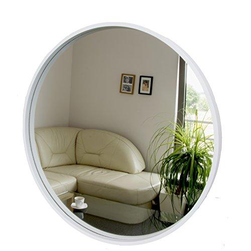 Rund Spiegel, Wandspiegel, 50cm Durchmesser, Holz, Weiß