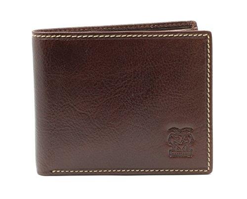 CAPPIANO Herren-Brieftasche mit 2 Abschnitten, fuer 11 Kreditkarten mit umklappbaren Fluegelteil in Cognac (Geprägte Tote Gefüttert)