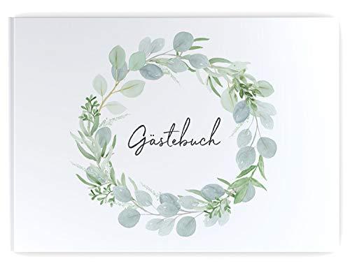 DeinWeddingshop Gästebuch Hochzeit Eucalyptus Green Love 104 Seiten, Hochzeitsgästebuch Hochzeitsalbum Hochzeitsbuch Hochzeitsgeschenk, Hardcover DIN-A4 ohne Fragen blanko