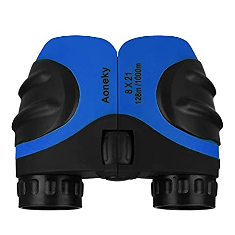 Aoneky Compact Mini Rubber 8 x 21 Kids Binoculars for Bird Watching, Best Christmas Gifts for Children, Recommended for Boys Age 3 to 11 Years Old, Blue