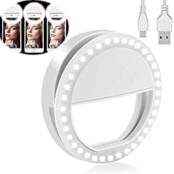 Yojoloin Selfie Ring Light per qualsiasi telefono cellulare [Ricaricabile] [4 Mode] 36 Led Selfie Ring Light per iPhone iPad Clip su fotocamera fotografia (bianco)