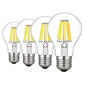 RANBOO E27 LED Classic Lampe ersetzt 80w LED Glühbirne Glühfadenlampe, 8W A60 800LM Kaltweiß 6500K Glühfaden Birnen, Filamentstil Klar, Nicht Dimmbar, 4er-Pack