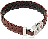 TOMMY HILFIGER MEN'S STAINLESS STEEL & BROWN LEATHER BRACELETS