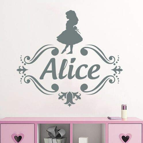 te Name Alice im Wunderland Vinyl Wandkunst Aufkleber Monogramm Kinder Kinderzimmer Dekor Customized Name Wand Muarl63x57cm ()