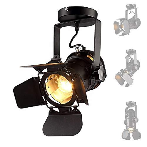 Industrielle Deckenstrahler Fixture E27 Spot Light Einstellbare und Drehbare LED-Deckenein Bauleuchten Moderne Spot-Beleuchtung Loft Rustikale Wandleuchte für SHOP Bar Restaurant Cafe,Black -