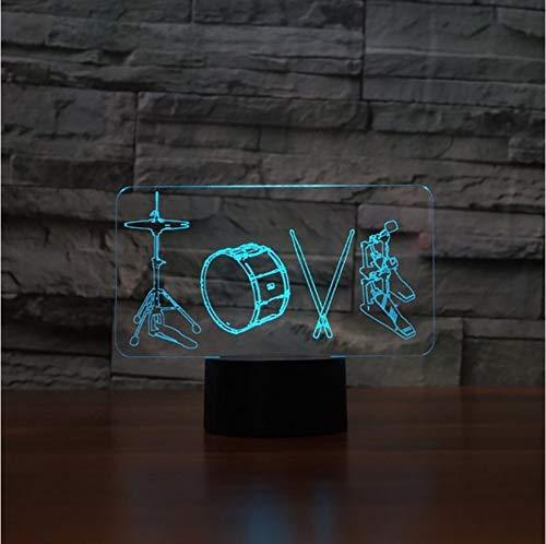 3D Künstlerische Liebe Trommeln Modellierung Tischlampe 7 Farben Led Nachtlichter Für Kinder Touch Usb Lampara Leuchte Wohnkultur Geschenke