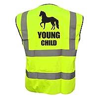 Kids Equine YOUNG CHILD Hi Viz Vis Vest Childs Horse Riding Reflective Waistcoat Jacket Road Safety Equestrian High Visibility