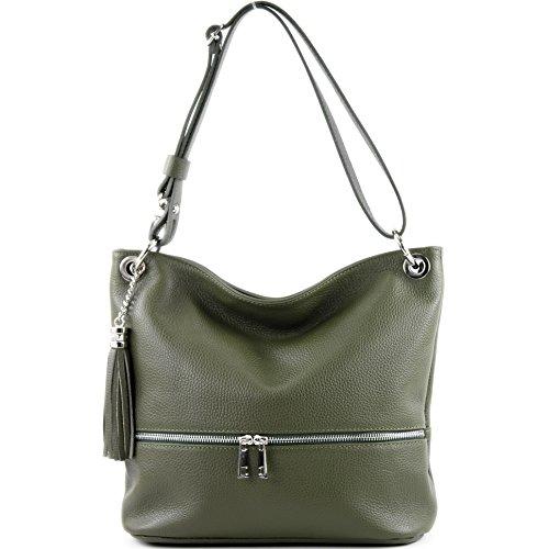 modamoda de - ital. Ledertasche Damentasche Umhängetasche Tasche Schultertasche Leder T143 Gelboliv