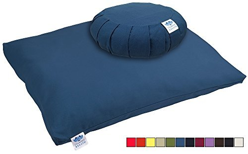 CalmingBreath Organic Zafu Meditation Cushion and Zabuton Mat Set (Twiligt) by CalmingBreath
