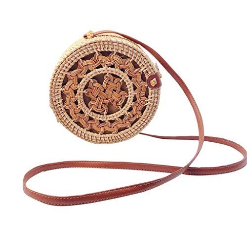 Dasongff Korbtasche Rund, Rattan Tasche, Ata Basket Bag, Basketbag, Strohtasche, Rattan Bag Round, Handmade, Premiumware, Hochwertig