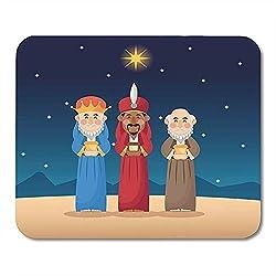Bethlehem Advent Drei Weise Männer Cartoon mit Design Anunciacion Feier Lustig Druck Rechteck Gummi Mauspads 22x18 cm