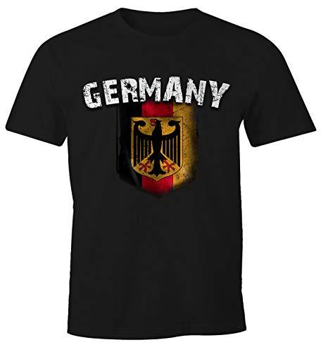 Cooles Herren Fußball WM EM T-Shirt Deutschland Flaggen Design Vintage Look schwarz M