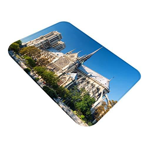 YWLINK Notre Dame De Paris FußMatte Teppiche Mit Quadratischem Muster Badezimmer rutschfest Atmungsaktiv Teppiche 40X60CM