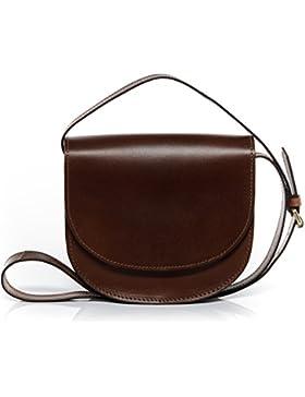 SID & VAIN Schultertasche TRISH - Umhängetasche klein - Damentasche festes Material - echt Sattelleder