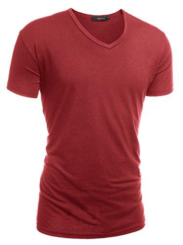 HEMOON Herren Slim Fit Kurzarm T-Shirt Basic V-Ausschnitt Tee Einfarbig Weinrot M (Slim Rot T-shirt Fit)