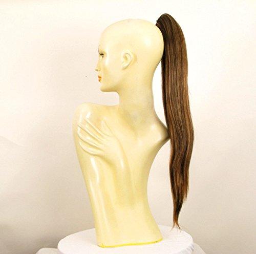 Postiche queue de cheval extension femme longue lisse 65 cm chocolat méché cuivré ref 7 en 627c
