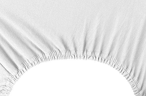DecoKing 18101 80x200-90x200 cm Spannbettlaken weiß 100% Baumwolle Jersey Boxspringbett Spannbetttuch Bettlaken Betttuch White Amber Collection - 6