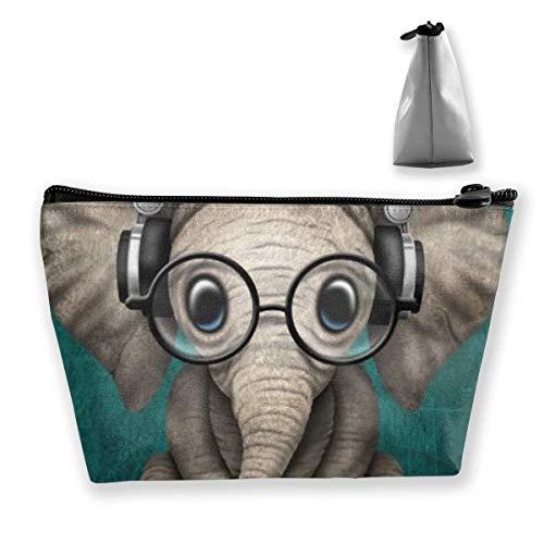 Estuche de lápices Lindo Elefante con Auricular Bolsa Cosmético Portátil Bolso Monedero Viaje Artículos de tocador Bolsa de lavado de playa