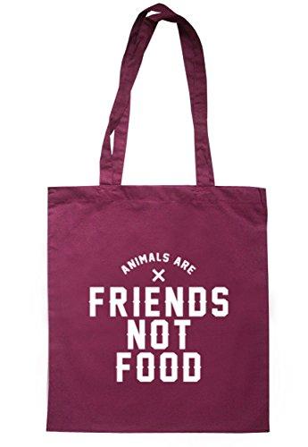 breadandbutterthreads animali sono amici non alimentare Borsa 37,5cm x 42cm con manici lunghi Maroon