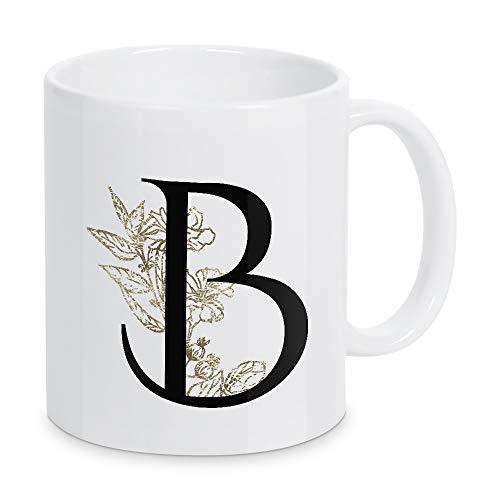 artboxONE Tasse B ? Flowers Gold von Dunja Krefft - Kaffeetasse Buchstaben/B