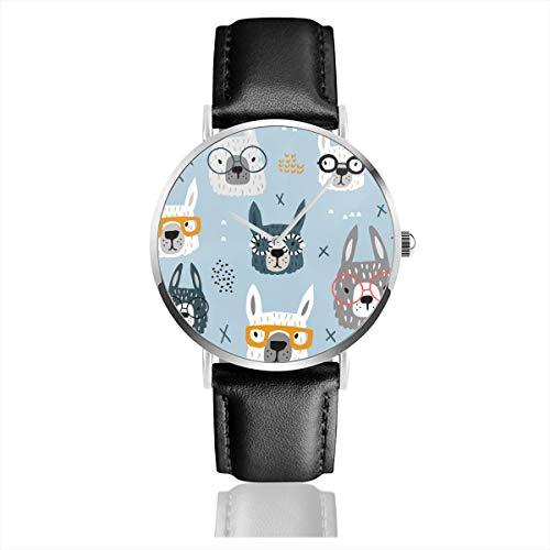 Armbanduhr Quarzuhr nahtlos Muster mit lustigen Alpaka in Brille Casual Uhren für Männer Frauen Damen mit schwarzer Lederuhr