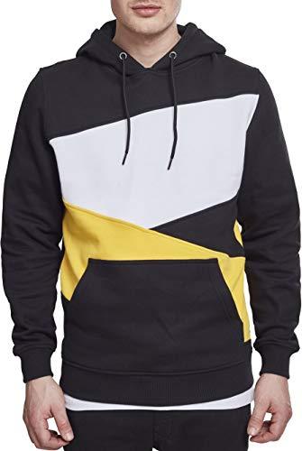 Urban Classics Herren Kapuzenpullover Zig Zag Hoodie, Farbe Black/Chrome Yellow/White, Größe XL