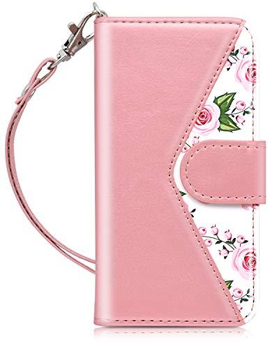 Dailylux iPod Touch 5/6 Hülle,iPod Touch 7 Hülle PU Leder Brieftasche mit Kartenhalter ID Slot und Handschlaufe TPU Innen Schutzhülle für Apple iPod Touch 5/6/7-Flower - Ipod Handschlaufe 5 Touch