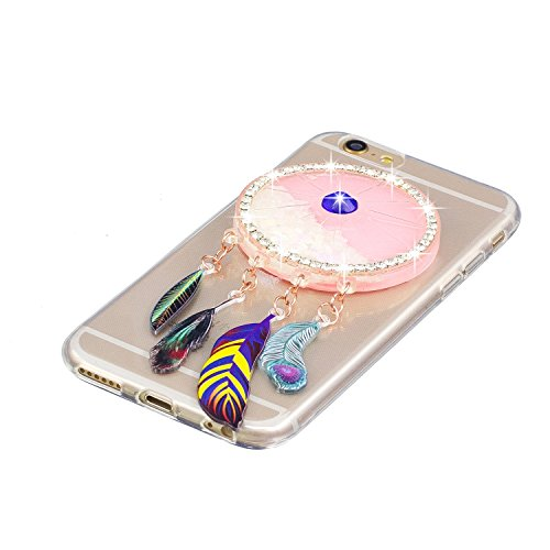 Coque iPhone 6 , Etui Housse iPhone 6S Liquide Sables Mouvants Bling Glitter Paillettes Enveloppe Coque Flexible Gel Silicone Transparente TPU pour Apple iPhone 6 / iPhone 6S (4.7 pouces) Case Cover E Blanc