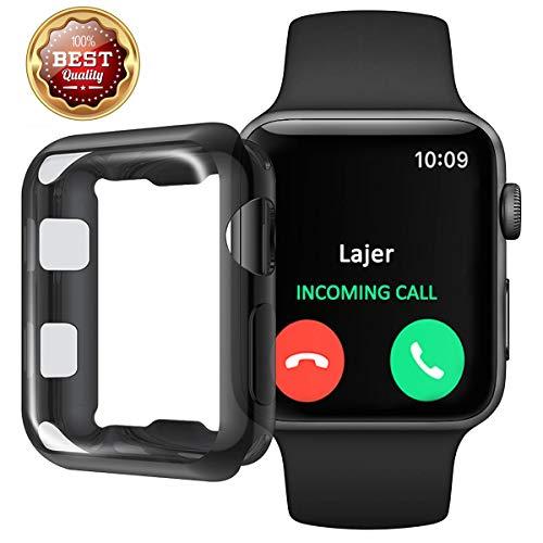 Layeri Hülle für Apple Watch 38mm 42mm TPU Wasserdicht Panzerglas 3D Volle Abdeckung Touch Kanten Schutzfolie für iWatch Series 3 2 1 38mm 42mm Sport Edition Nike+ (38MM, Black)