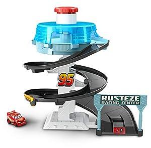 Dinsey Cars Pista de coches de juguete Espiral de carreras con coche Rayo Mcqueen (Mattel FYN86)