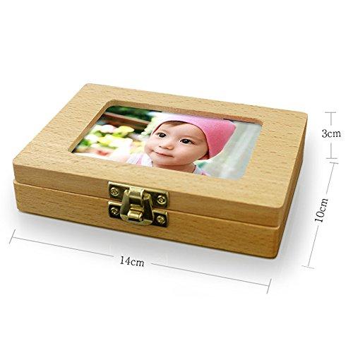 TAMUME Bilderrahmen Denti Fata Box Legno di Faggio Zähne Aufbewahrungsbox für Baby-Andenken Box Holz Baby-Zähne sparen box / Kleine Dose / Milchzahndose mit 20 Löcher Baby-Andenken-Geschenk mit ersten Zahn & Haarsträhne (Photo)