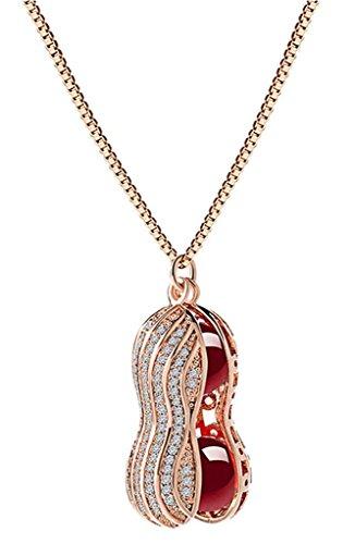 KnSam Donne Placcato in Oro Rosa Per la Collana Sfera dell'agata dell'arachide Serpente Rosso Cristallo Zirconia Cubica [Novità Collana] - Collana Agata Nera Di Cristallo