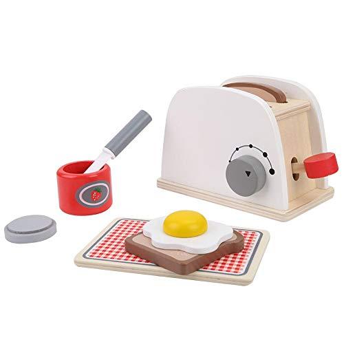 Toaster Set Kinder aus Holz Pop up Küche Spielzeug Charakter Rolle Indoor Cognitions Spiel mit Zubehör für Kinder Weihnachten Geburtstagsgeschen ()