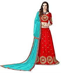 Clickedia Womens Banglori Silk And Embroidered work, With Blouse Piece,Semi Stitched Lehenga Choli