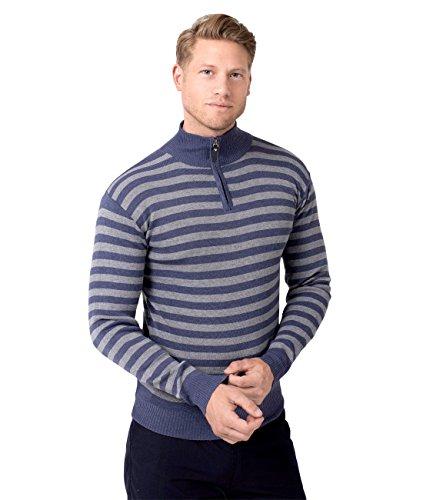 KRISP® Herren Pullover Hoher Reißverschluss Kragen Gestreift & Einfarbig Blau (5279)