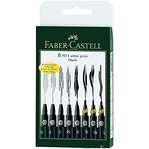 Faber Castell 167107 - China matita PITT artist pen brush - Manga - 8 confezione, nero, 8er Etui + A5 Spiral-Skizzenblock - Faber Castell Pitt Artist Brush