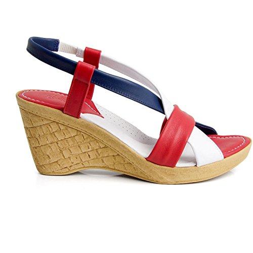 Batz CALIFORNIA Damen Hochwertigem Sommer Sandaletten, Sandalen, Lederschuhe, Schuhe Rot Mix