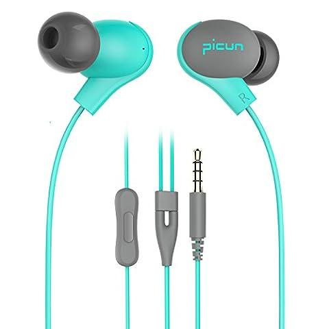 Picun S2 In-Ohr Kopfhörer Ergonomischer Ohrhörer mit Mikrofon, Ferbedinung, Stereo Bass, 1,3 M Kabel für iPhone, Samsung, Sony, ipad, MP4 Players and PC(Hellblau)