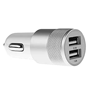 Modocee 2.1 A Dual Port Hi-Speed USB Car Charger for Spice Stellar Mi-508 - (White)