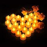 VicTsing 24 Efecto Llama, Velas de LED Pequeñas con Pilas Incorporadas de 100 Horas, Perfectas para Decoración Navidad Boda Cumpleaños Fiestas San Valentín y Semana Santa, Luz Blanca Cálida