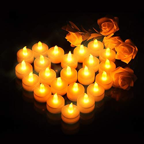 elektrisches teelicht LED Kerzen, OMORC 24x LED teelicht Kerzen flammenlos, Weihnachten &Erntedankfest LED Teelichter-Kerzen, Kerze LED und perfektes Requisit für Party, Bar, Hochzeit, Festival (A-Warm Weiß)