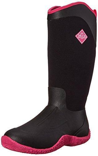 Muck Boots Tack II Tall, Bottes en Caoutchouc de Sécurité Femme, Noir noir/rose vif