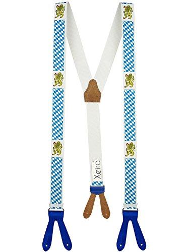 Xeira®Bretelles de haute qualité pour Femmes / Hommes à boutonnière - Cuir véritbale - Taille réglable jusqu'à 190cm Bavière - Blue Cuir