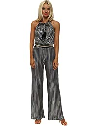 f4bacc199ef61 My Story Pewter Foil Pleated Jumpsuit