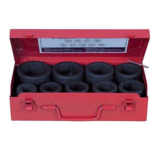 Douille à chocs 1 '' en coffret de 9 de 24 à 50 mm