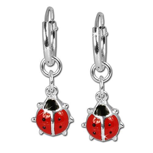 SilberDream orecchini SDO073ciascuno con una coccinella in argento Sterling 925per bambini rosso e nero